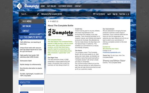 Screenshot of About Page thecompletebottle.com - About Us - captured Sept. 30, 2014