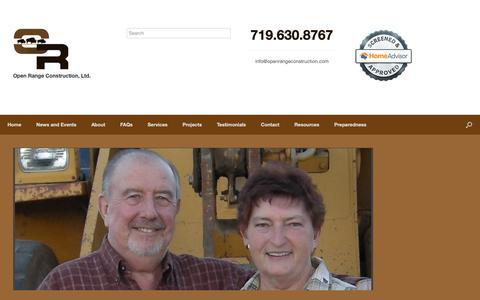 Screenshot of Testimonials Page openrangeconstruction.com - Testimonials – Open Range Construction Ltd. - captured Oct. 18, 2018