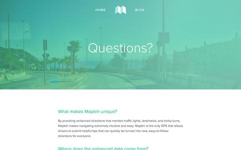 Screenshot of FAQ Page mapkin.co - FAQ — Mapkin - captured Nov. 21, 2015