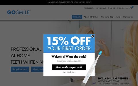 Screenshot of Home Page gosmile.com - GO SMILE: The Ultimate Teeth Whitening Kit - captured Sept. 26, 2018