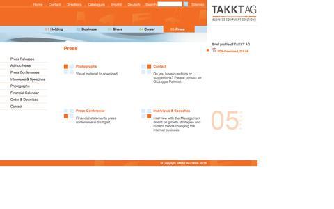 Screenshot of Press Page takkt.de - TAKKT AG - Press - captured Sept. 23, 2014