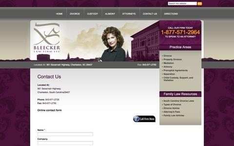 Screenshot of Contact Page bleeckerlawfirm.net - Contact Us - captured Oct. 26, 2014