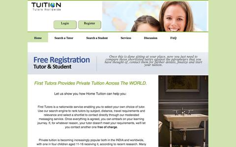 Screenshot of Home Page tuitionworldwide.com - Tuition Tutors Worldwide | Looking For Qualified Tutors | Find a Tutor | Tutors Worldwide - captured Sept. 30, 2014
