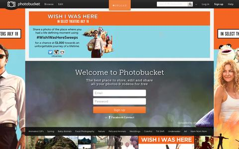 Screenshot of Home Page photobucket.com - Photo and image hosting, free photo galleries, photo editing - captured July 11, 2014