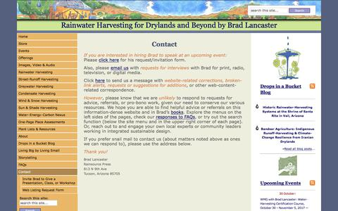 Screenshot of Contact Page harvestingrainwater.com - Rainwater Harvesting for Drylands and Beyond by Brad Lancaster   » Contact - captured Oct. 11, 2017