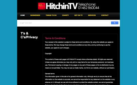 Screenshot of Terms Page hitchintv.co.uk - Terms & Conditions - captured Sept. 30, 2014