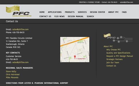 Screenshot of Contact Page pfcflex.com - Contact PFC - captured Oct. 1, 2014