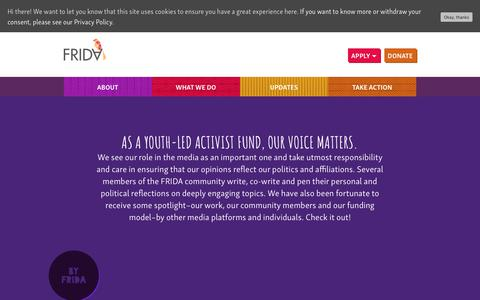 Screenshot of Press Page youngfeministfund.org - In the media - FRIDA The Young Feminist Fund - FRIDA The Young Feminist Fund - captured Oct. 10, 2018