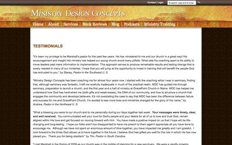Screenshot of Testimonials Page ministrydesignconcepts.com - Testimonials | Ministry Design Concepts - captured Oct. 7, 2014