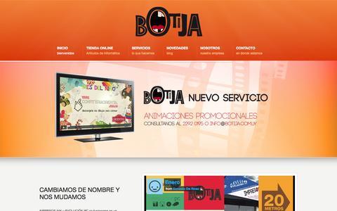 Screenshot of Home Page botija.com.uy - Botija - captured Oct. 4, 2014