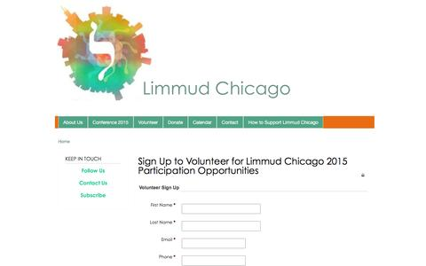 Screenshot of Signup Page limmudchicago.org - Sign Up to Volunteer for Limmud Chicago 2015 Participation Opportunities | Limmud Chicago - captured Dec. 10, 2015