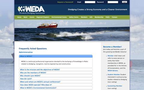 Screenshot of FAQ Page westerndredging.org - Western Dredging Association - FAQ's - captured Oct. 1, 2014