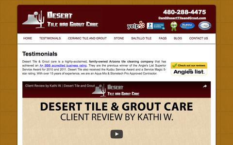 Screenshot of Testimonials Page deserttileandgrout.com - Arizona Tile Cleaning Reviews | Desert Tile & Grout Care - captured July 6, 2017