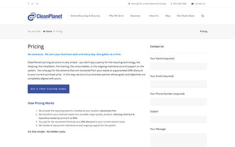 Screenshot of Pricing Page cleanplanetchemical.com - Pricing   How Much Does Solvent Recycling Cost? - captured Sept. 30, 2014