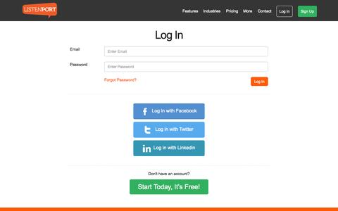 Screenshot of Login Page listenport.com - Login - captured Sept. 27, 2015