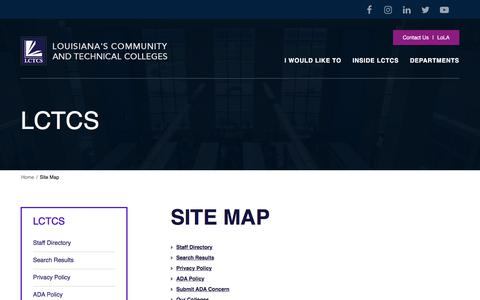Screenshot of Site Map Page lctcs.edu - Site Map | LCTCS - captured July 14, 2018