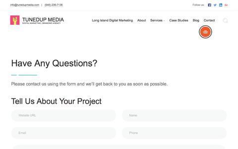 Screenshot of Contact Page tunedupmedia.com - Contact information | TunedUp Media - captured Aug. 15, 2019