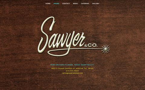 Screenshot of Hours Page sawyerand.co - HOURS — Sawyer & Co. - captured March 2, 2016