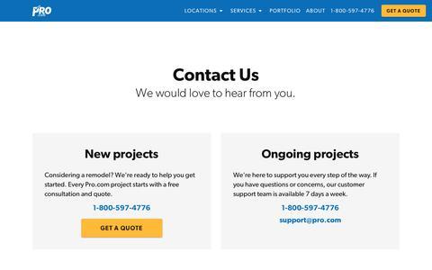 Screenshot of Contact Page pro.com - Contact us | Pro.com - captured Feb. 20, 2020