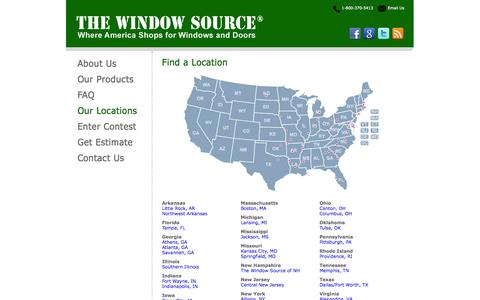 Screenshot of Locations Page thewindowsource.net - Find a Window Source Location Near You, Lowest Price on Premium Vinyl Replacement Windows - captured Oct. 7, 2014