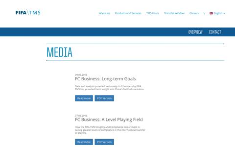 Screenshot of Press Page fifatms.com - Fifa TMS – Media - captured Nov. 24, 2016