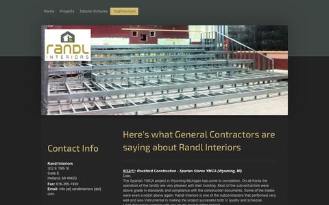 Screenshot of Testimonials Page randlinteriors.com - Randl Interiors - Testimonials - captured Feb. 17, 2016