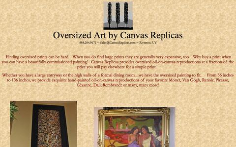Screenshot of Landing Page canvasreplicas.com - Oversized prints by Canvas Replicas - captured Oct. 27, 2014