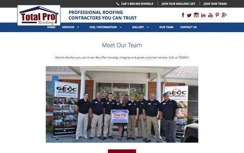 Screenshot of Team Page totalproroofing.com - Atlanta Roofers - The Total Pro Roofing Team - captured Feb. 24, 2016