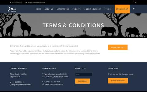 Screenshot of Terms Page onehorizon.net - Terms & Conditions - One Horizon - captured Dec. 3, 2016