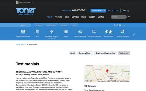 Screenshot of Testimonials Page tonercable.com - Toner Cable Equipment Testimonials, Testimonials for Toner Cable - captured Dec. 8, 2016