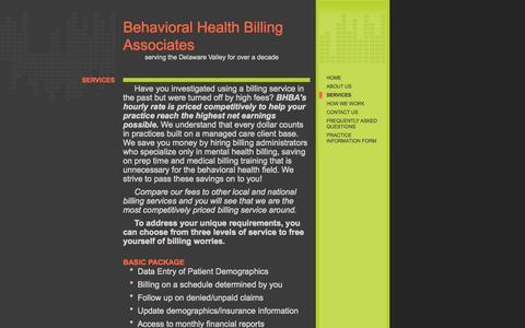 Screenshot of Services Page behavioralbilling.com - Behavioral Health Billing Associates - Services - captured Oct. 5, 2014