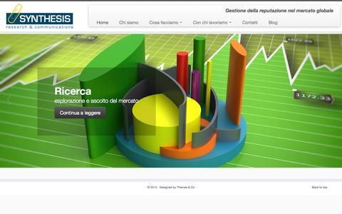 Screenshot of Home Page insintesi.it - SYNTHESIS research & communications - captured Oct. 4, 2014