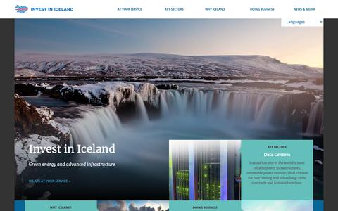 Screenshot of Home Page invest.is - Invest in Iceland - captured Oct. 21, 2018