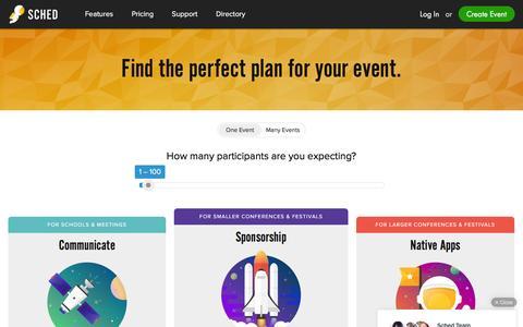 Screenshot of Pricing Page sched.org - Agenda Creator | Event Calendar Mobile App - captured Feb. 10, 2016