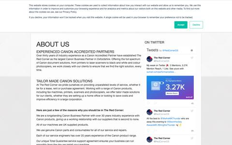 Screenshot of About Page theredcorner.co.uk - About Us | The Red Corner - captured Oct. 20, 2018