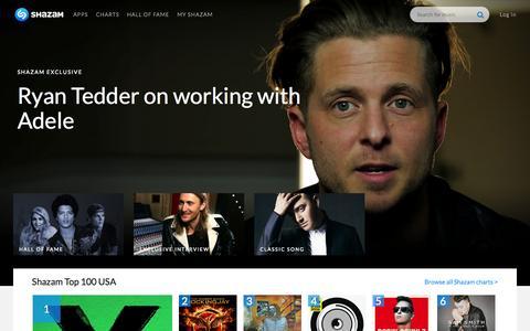 Screenshot of Home Page shazam.com - Shazam Home - captured Jan. 15, 2015