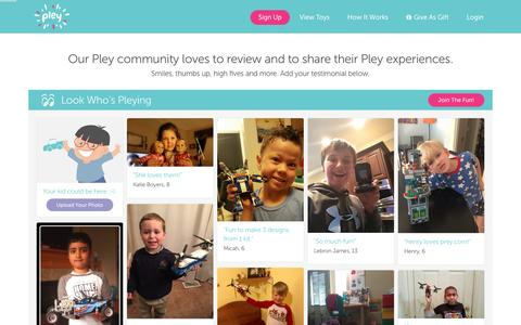 Screenshot of Testimonials Page pley.com - Pley reviews |  Pley | Rent the coolest toys including LEGO®, American Girl and other amazing toys - captured Feb. 25, 2016