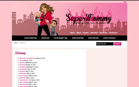 Screenshot of Site Map Page supermommy.com.sg - Sitemap - captured Oct. 20, 2018