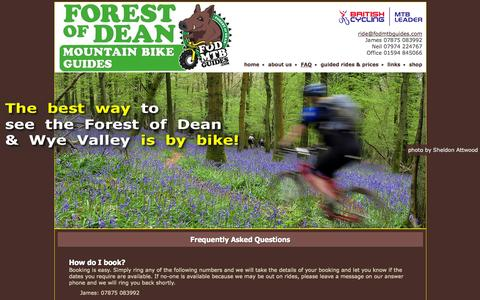 Screenshot of FAQ Page fodmtbguides.com - Forest of Dean Mountain Bike Guides - captured Oct. 6, 2014