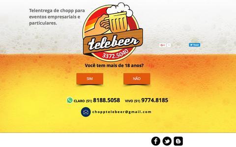 Screenshot of Home Page telebeer.com.br - Telebeer - delivery de chopp Porto Alegre. Atendemos bares e eventos. - captured Nov. 29, 2016