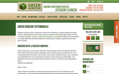 Screenshot of Testimonials Page greenhorizon.com - Testimonials - Green Horizon Air Conditioning & Heating Repair - captured July 19, 2016