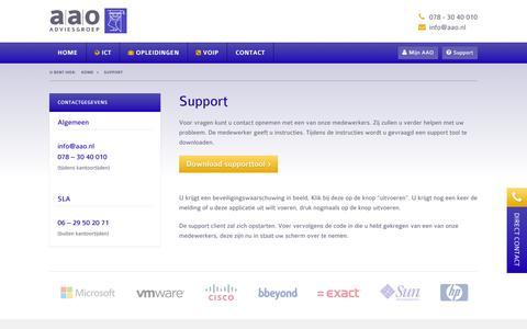 Screenshot of Support Page aao.nl - Support | AAO Adviesgroep - captured Oct. 27, 2014