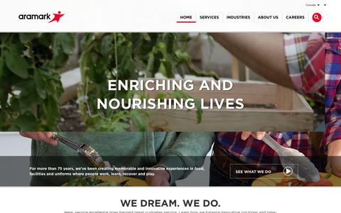 Screenshot of Home Page aramark.ca - Aramark | Food, Facilities, and Uniform Services - captured Feb. 24, 2018