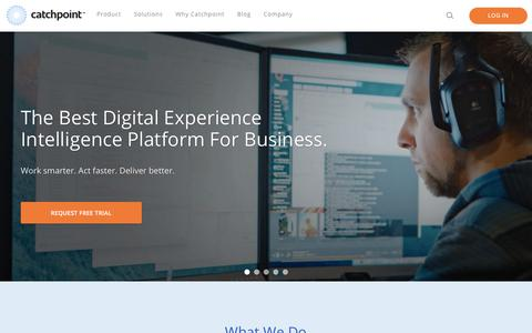 Screenshot of Home Page catchpoint.com - Catchpoint - The Best Digital Experience Intelligence Platform For Business. - captured Sept. 26, 2017
