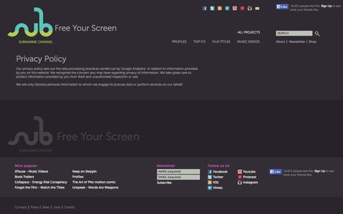 Screenshot of Privacy Page submarinechannel.com - Privacy Policy - Submarine Channel - captured Sept. 23, 2014