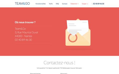 Screenshot of Contact Page team-and-go.fr - Contact - captured Oct. 26, 2014