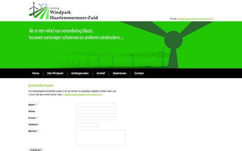 Screenshot of Contact Page windparkhaarlemmermeerzuid.nl - Contactformulier | Windpark Haarlemmermeer-Zuid - captured Oct. 26, 2014