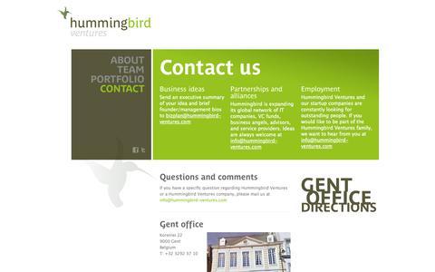 Screenshot of Contact Page hummingbird-ventures.com - Hummingbird Ventures - captured Sept. 30, 2014