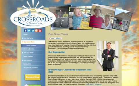 Screenshot of Team Page explorecrossroads.com - Leadership Team: Disability Provider: Crossroads of Western Iowa - captured Feb. 1, 2016