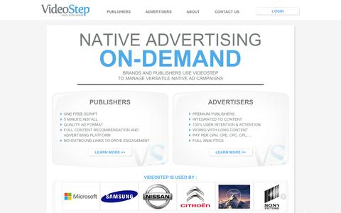 Screenshot of Home Page videostep.com - VideoStep - Native Video Advertising 2.0 - captured Sept. 10, 2014